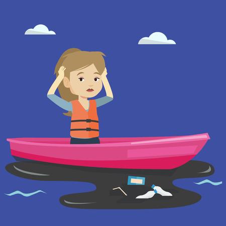衛生労働者は、水の中からゴミをキャッチするボートに取り組んでいます。欲求不満な女を見ながら頭をつかむには、水が汚染されています。水汚染の概念。ベクトル フラットなデザイン イラスト。正方形のレイアウト 写真素材 - 67392913