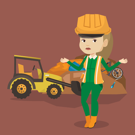 dumping: Worker of rubbish dump standing with spread arms. Woman standing on the background of rubbish dump and bulldozer. Young caucasian worker of rubbish dump. Vector flat design illustration. Square layout