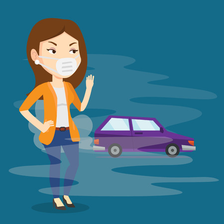 Woman standing on the background of car with traffic fumes. Woman wearing mask to reduce the effect of traffic pollution. Concept of toxic air pollution. Vector flat design illustration. Square layout Illustration