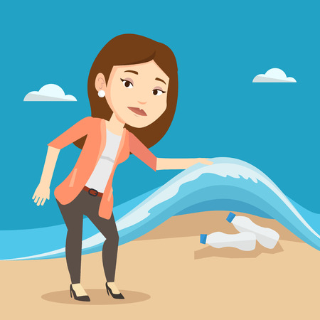 sea pollution: Caucasian woman showing plastic bottles under water of sea. Woman collecting plastic bottles from water. Water pollution and plastic pollution concept. Vector flat design illustration. Square layout. Illustration