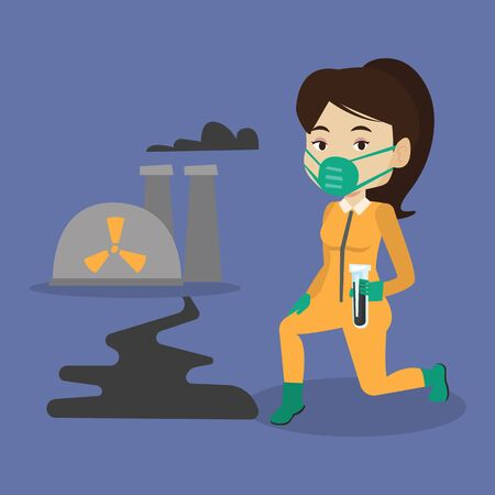 Young caucasian scientist in gas mask and radiation protective suit holding a test-tube with black liquid on the background of nuclear power plant. Vector flat design illustration. Square layout. Illustration