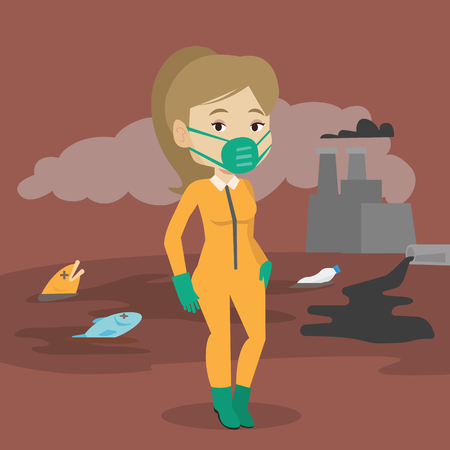 radiation protection suit: Caucasian woman in gas mask and radiation protective suit standing on the background of nuclear power plant. Scientist wearing radiation protection suit. Vector flat design illustration. Square layout
