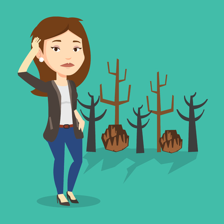Caucasian woman scratching head on the background of dead forest. Dead forest caused by global warming or wildfire. Concept of environmental destruction. Vector flat design illustration. Square layout Illustration