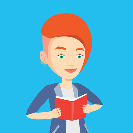 Smiling student reading a book. Cheerful female student reading a book and preparing for exam. Student holding a book in hands. Concept of education. Vector flat design illustration. Square layout. 일러스트