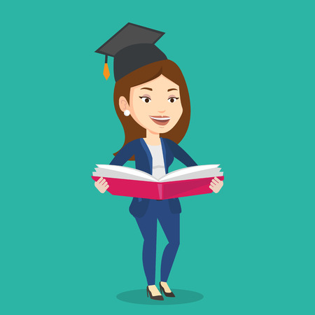 enjoying: Graduate standing with a big open book in hands. Smiling female student in graduation cap reading a book. Woman holding a book. Concept of education. Vector flat design illustration. Square layout. Illustration