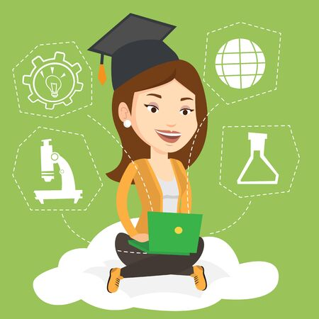 cloud computing technologies: Young graduate sitting on cloud with laptop on knees. Graduate using cloud computing technologies. Concept of educational technology and cloud computing. Vector flat design illustration. Square layout