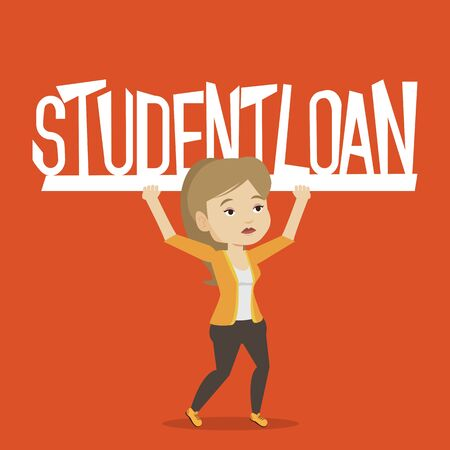student loan: Caucasian woman holding a heavy sign of student loan. Young tired woman carrying heavy sign - student loan. Concept of the high cost of student loan. Vector flat design illustration. Square layout. Illustration