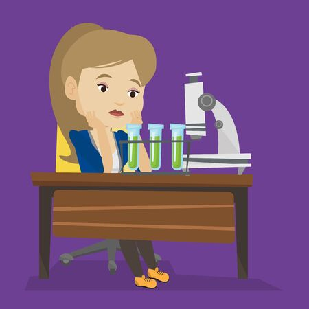 Disappointed caucasian student carrying out experiment in chemistry class. Female student clutching head after failed experiment in chemistry class. Vector flat design illustration. Square layout.