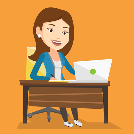 using laptop: Student sitting at the table with laptop. Student using laptop for education. Woman working on laptop and writing notes. Educational technology concept. Vector flat design illustration. Square layout.