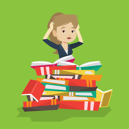 student reading: Caucasian student sitting in huge pile of books. Exhausted student preparing for exam with books. Stressed student reading books. Concept of education. Vector flat design illustration. Square layout.