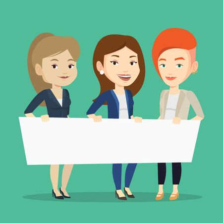 Three young caucasian women holding white blank board. Group of young students holding an empty board. Group of friends showing white board. Vector flat design illustration. Square layout.