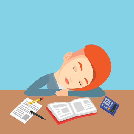 tiredness: Fatigued caucasian student sleeping at the desk with books. Tired female student sleeping after learning. Young woman sleeping among books at the table. Vector flat design illustration. Square layout. Illustration