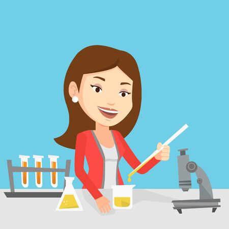 Caucasian female student carrying out laboratory experiment. Student working with microscope at laboratory class. Student experimenting in laboratory. Vector flat design illustration. Square layout. Иллюстрация