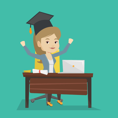 Caucasian female graduate sitting at the table with laptop and diploma. Graduate in graduation cap using laptop for education. Online graduation concept. Vector flat design illustration. Square layout