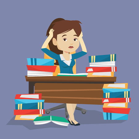 Young stressed student studying with textbooks. Caucasian female student studying hard before exam. Desperate female student studying in the library. Vector flat design illustration. Square layout. Çizim