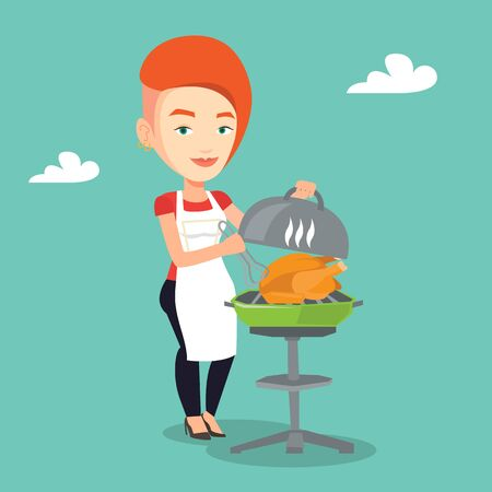 Caucasian woman cooking chicken on barbecue grill outdoors. Young smiling woman having a barbecue party. Woman preparing chicken on barbecue grill. Vector flat design illustration. Square layout.
