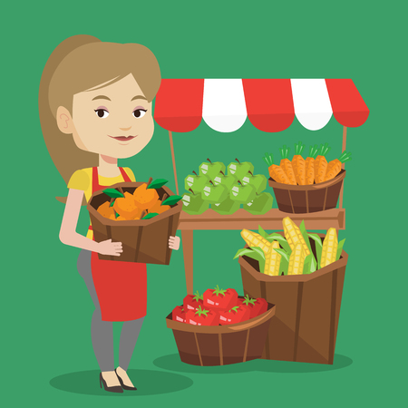 Caucasian greengrocer standing near stall with fruits and vegetables. Greengrocer standing near market stall. Greengrocer holding basket with fruits. Vector flat design illustration. Square layout. 일러스트