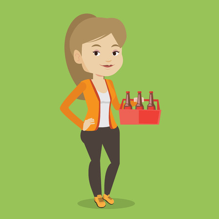 six pack: Young happy woman holding pack of beer. Full length of cheerful woman carrying a six pack of beer. Caucasian smiling woman buying beer. Vector flat design illustration. Square layout.