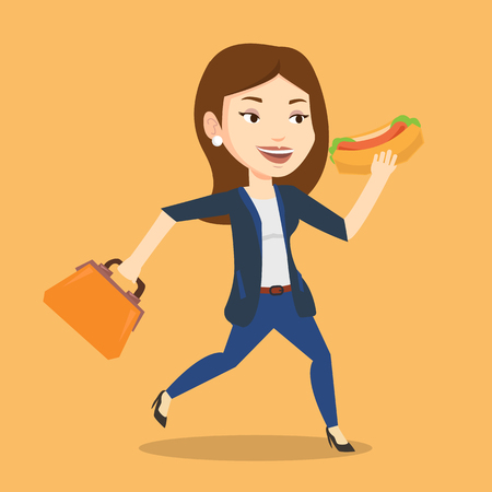 Smiling business woman in a hurry eating hot dog. Business woman with briefcase eating on the run. Young business woman running and eating hot dog. Vector flat design illustration. Square layout. Illustration
