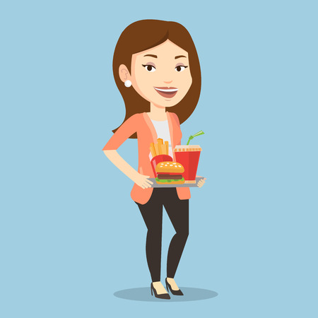 lunch tray: Caucasian woman holding tray with fast food. Young smiling woman having a lunch in a fast food restaurant. Happy woman with fast food. Vector flat design illustration. Square layout.