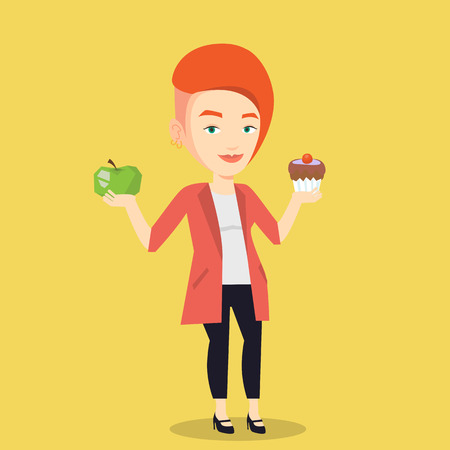 choosing: Caucasian woman holding apple and cupcake in hands. Woman choosing between apple and cupcake. Concept of choice between healthy and unhealthy nutrition. Vector flat design illustration. Square layout