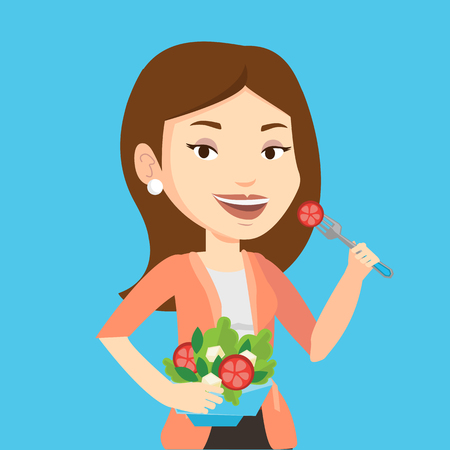 Caucasian happy woman eating healthy vegetable salad. Young woman enjoying fresh vegetable salad. Woman holding fork and bowl with vegetable salad. Vector flat design illustration. Square layout. 일러스트