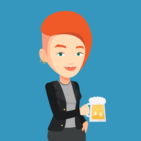 clinking: Young caucasian woman celebrating with beer. Smiling woman holding a big glass of beer. Full length of female beer fan. Vector flat design illustration. Square layout. Illustration