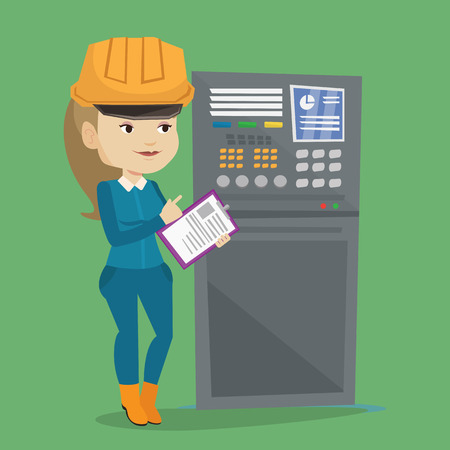 Woman working on control panel. Worker in hard hat pressing button at control panel. Engineer with clipboard standing in front of the control panel. Vector flat design illustration. Square layout. Ilustração
