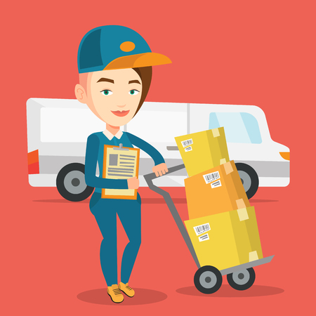 troley: Caucasian female delivery courier with cardboard boxes on troley. Young delivery courier holding clipboard. Courier standing in front of delivery van. Vector flat design illustration. Square layout.