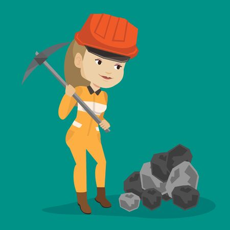 coal mine: Caucasian female miner in hard hat working with a pickaxe. Female miner working at the coal mine. Young female miner at work. Vector flat design illustration. Square layout.