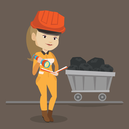 coal mine: Caucasian miner checking documents with the flashlight on the background of trolley with coal. Mine worker in hard hat. Female miner in the coal mine. Vector flat design illustration. Square layout. Illustration