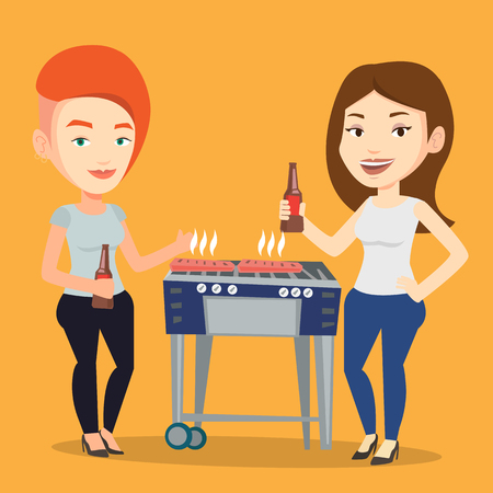 friends having fun: Friends preparing barbecue and drinking beer. Group of friends having fun at a barbecue party. Smiling caucasian female friends having a barbecue party. Vector flat design illustration. Square layout.