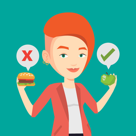choosing: Caucasian woman holding apple and hamburger in hands. Woman choosing between apple and hamburger. Woman choosing between healthy and unhealthy nutrition. Vector flat design illustration. Square layout Illustration