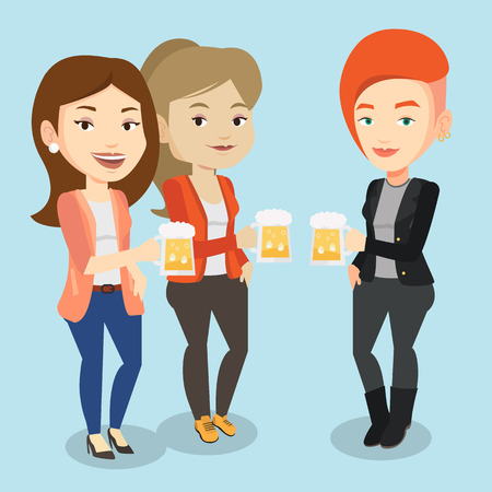 clinking: Women toasting and clinking glasses of beer. Caucasian women clanging glasses of beer. Group of friends enjoying a beer at pub. Vector flat design illustration. Square layout.