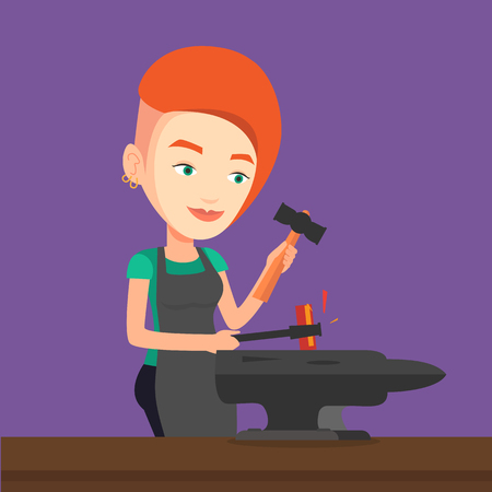 heavy industry: Caucasian blacksmith working metal with hammer on the anvil in the forge. Blacksmith at work in smithy. Blacksmith forging the molten metal on anvil. Vector flat design illustration. Square layout.