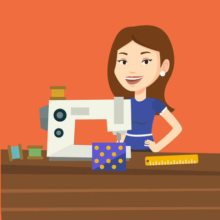 seamstress: Caucasian seamstress working in a cloth factory. Happy seamstress sewing on an industrial sewing machine. Seamstress using sewing machine at workshop. Vector flat design illustration. Square layout.