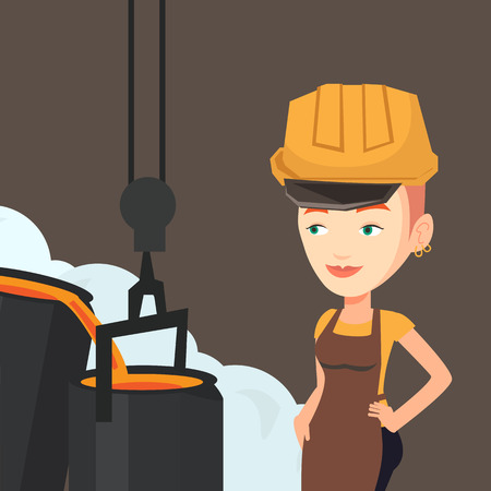 Caucasian steelworker in a hardhat at work in the foundry. Steelworker controlling iron smelting in the foundry. Industrial worker in steel making plant. Vector flat design illustration. Square layout Иллюстрация