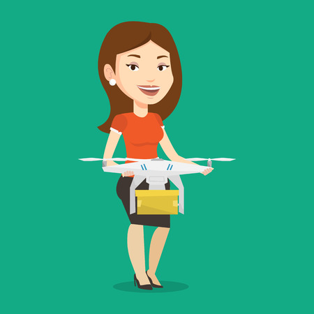 package sending: Caucasian woman controlling delivery drone with post package. Woman getting post package from delivery drone. Woman sending parcel with delivery drone. Vector flat design illustration. Square layout.