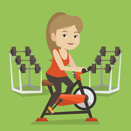 stationary bicycle: Caucasian woman riding stationary bicycle in the gym. Sporty woman exercising on stationary training bicycle. Young woman training on exercise bicycle. Vector flat design illustration. Square layout.