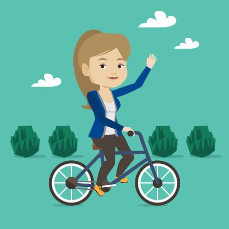 lifestyle outdoors: Sportive woman riding a bicycle in the park. Cyclist riding bicycle and waving her hand. Young woman on a bicycle outdoors. Healthy lifestyle concept. Vector flat design illustration. Square layout.