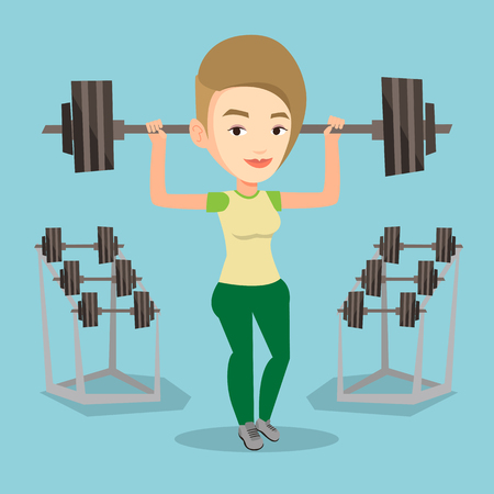 Caucasian sporty woman lifting a heavy weight barbell. Strong sportswoman doing exercise with barbell. Female weightlifter holding a barbell in the gym. Vector flat design illustration. Square layout. Stock Illustratie