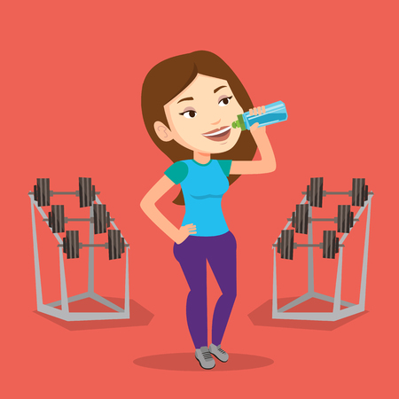 sportswoman: Caucasian sporty woman drinking water. Young woman standing with bottle of water in the gym. Smiling sportswoman drinking water from the bottle. Vector flat design illustration. Square layout.