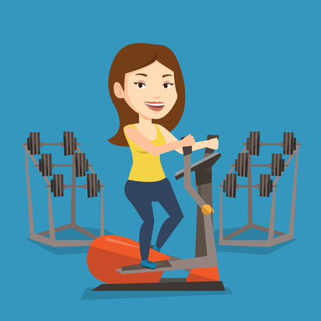Caucasian woman exercising on elliptical trainer. Woman working out using elliptical trainer in the gym. Woman doing exercises on elliptical trainer. Vector flat design illustration. Square layout. Illustration