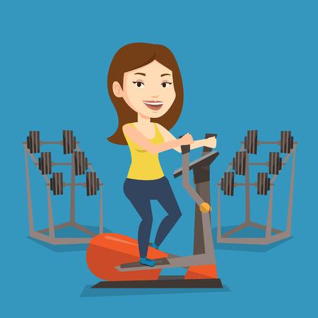 elliptical: Caucasian woman exercising on elliptical trainer. Woman working out using elliptical trainer in the gym. Woman doing exercises on elliptical trainer. Vector flat design illustration. Square layout. Illustration
