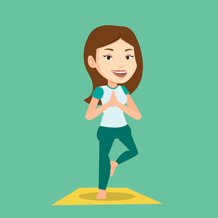 Young sportswoman standing in yoga tree pose. Caucasian sportswoman meditating in yoga tree position. Sporty woman doing yoga on the mat. Vector flat design illustration. Square layout. Illustration
