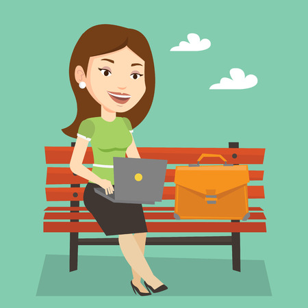 laptop outside: Caucasian business woman working outdoor. Happy business woman working on a laptop. Young business woman sitting on a bench and working on laptop. Vector flat design illustration. Square layout.