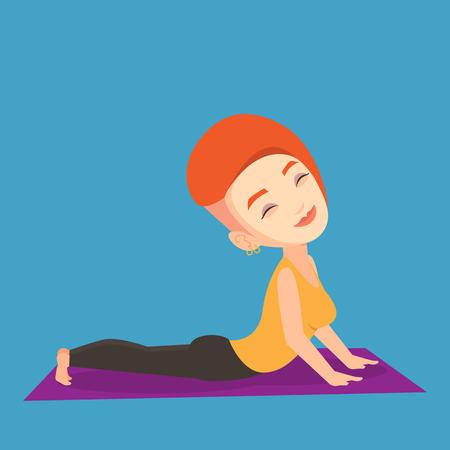 sportswoman: Young sportswoman practicing yoga upward dog pose. Caucasian sportswoman meditating in yoga upward dog position. Sporty woman doing yoga on the mat. Vector flat design illustration. Square layout. Illustration