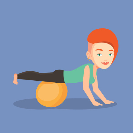 fitball: Young caucasian woman exercising with fitball. Woman training triceps and biceps while doing push ups on fitball. Woman doing exercises on fitball. Vector flat design illustration. Square layout Illustration