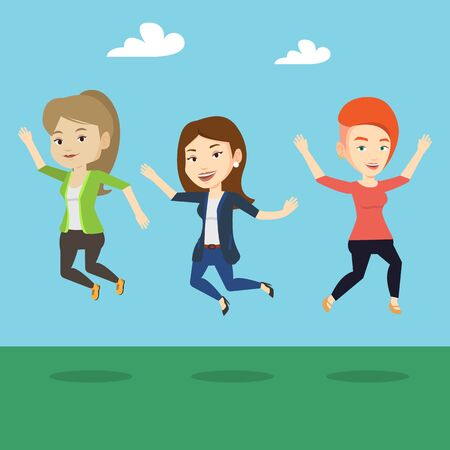 lifestyle outdoors: Happy group of young caucasian friends jumping in the park. Group of cheerful friends having fun and jumping outdoors. Friendship and lifestyle concept. Vector flat design illustration. Square layout.