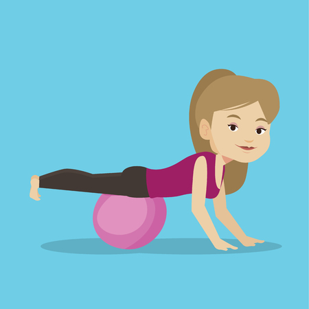 Young caucasian woman exercising with fitball. Woman training triceps and biceps while doing push ups on fitball. Woman doing exercises on fitball. Vector flat design illustration. Square layout Illustration
